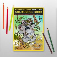 Printable Australian Colouring book by Artist Rachel Weaver. Sharks, seagulls, koala, kangaroo, mosquito and more.